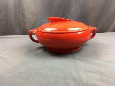 VntG 40's Art Deco Hall Chinese Red Sundial Lid Casserole