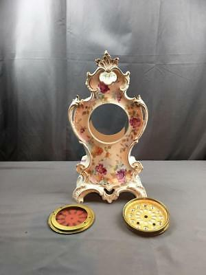 19th Cnty Huge Tall Floral Decorated Royal Bonn Porcelain Case & Dial