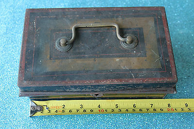Antique Vintage Old Tin Metal Cash Box Interior Fittings English Made