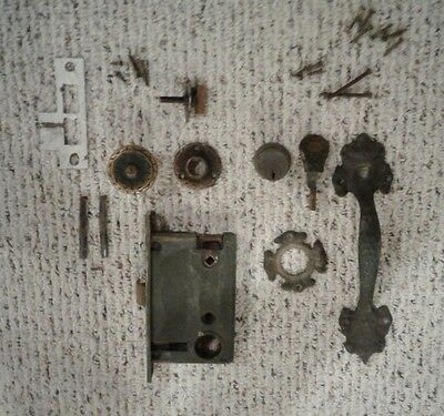 Antique WELCH Complete Entry Mortise Lock Set Thumb Latch Handle and Door Knob