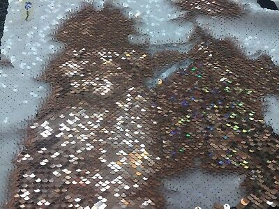 Sequins Fabric 2 Way Stretch Shiny Reversible Mermaid Champagne-White - The Yard