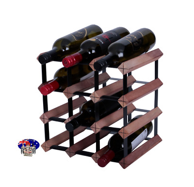 12 Bottle Timber Wine Rack- RUSTIC HARDWOOD -next day dispatch - Free delivery