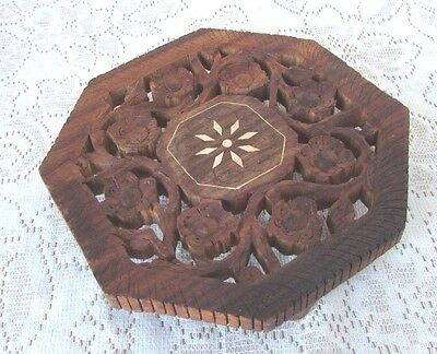 Vtg Trivet Carved  Leaves Flower Openwork Footed 6 inch Wood made in India