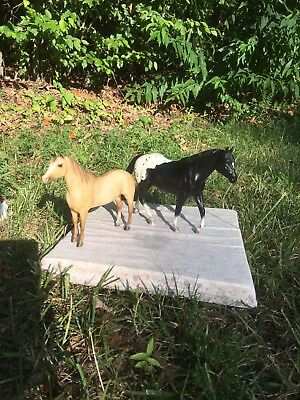 Breyer Horse Lot of two, black appaloosa and buckskin pony