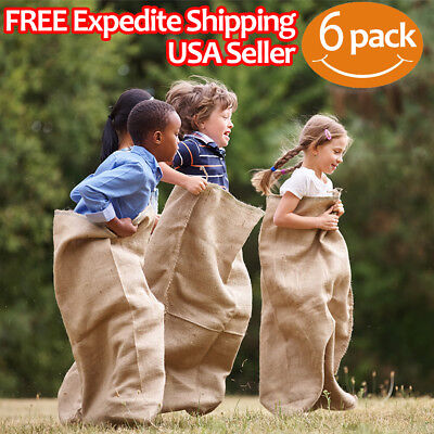"Premium Burlap Potato Sack Race Bags 24"" x 40"" (Pack of 6) - of Sturdy Rugged"
