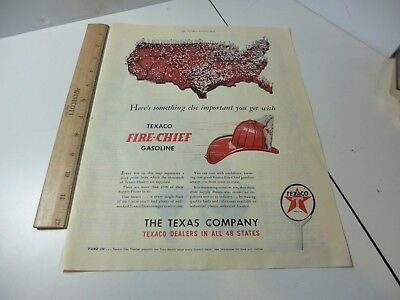Texaco Fire Chief Map of Dealers 1947 Color Print ad