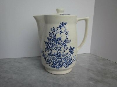 Vintage Ceramic Electric Hot Pot Water Heater Blue Flowers