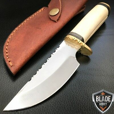 "8"" GENUINE BONE HANDLE FILEWORK Hunting Skinner Knife Stainless Steel Blade -M"