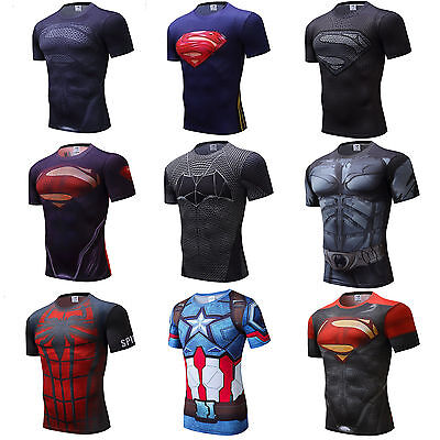 Men's Marvel Compression T Shirts Short Sleeve Superhero Top Cycling Spiderman