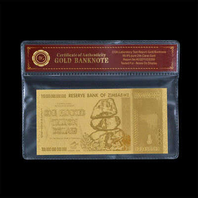 WR Crafts Zimbabwe 100 Trillion Gold Banknote Plated 24K Gold Plastic Note +COA