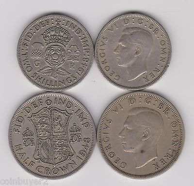 1948 England (UK) -  2 Shillings & 1/2 Crown   King George VI