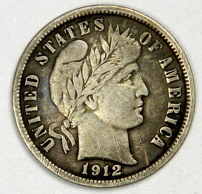 1912 Barber Dime - Original Vf/xf - Priced Right!