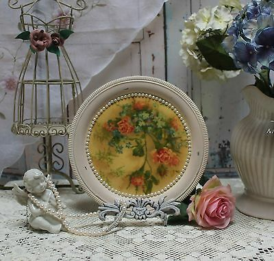 "Shabby Chic French Country Round Decorative Vanity Metal Tray Vintage ""Rose""..."