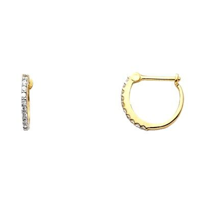 Solid 14k Yellow Gold Huggie Hoop Earrings Cz Round French Lock Fancy Small