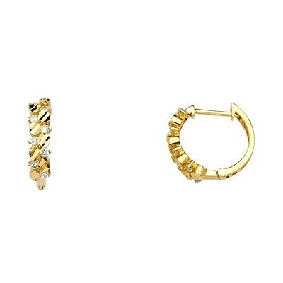 Flower Huggie Earrings Solid 14k Yellow Gold Huggies Floral Red CZ Fancy Small