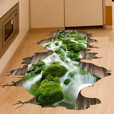 3D Stream Waterfall Floor/Wall Sticker Removable Mural Decal Vinyl Home Decor