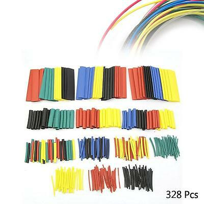 New 328 Pcs 5 Colors 8 Sizes Assorted 2:1 Heat Shrink Tubing Wrap Sleeve Kit BS
