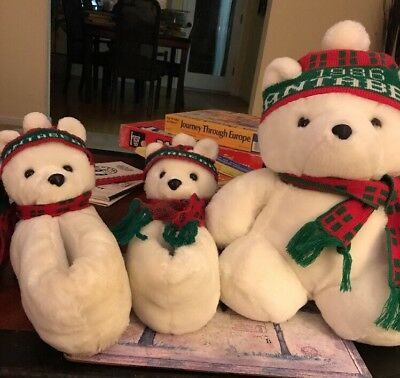 "1986 Santa Bear Plush 18"" w/ Hat & Scarf & Matching Slippers - Dayton Hudson"