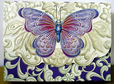 10 Blank Notecards & 10 Embossed Envelopes Butterfly Design In Matching Folder