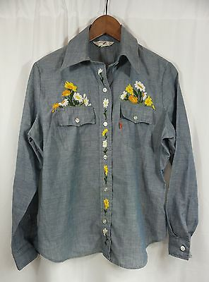 vtg LEVIS CHAMBRAY SHiRT - Embroidered Flowers 70s LARGE E ORANGE TAB womens