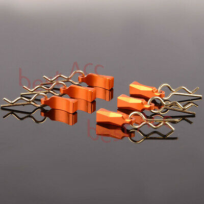 6pcs GPM Racing Body Clips with Aluminum Mount for 1/10 1/18 R/C BCM004M