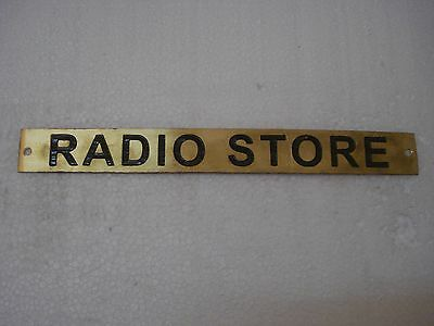 RADIO STORE  – Marine BRASS Door Sign -  Boat/Nautical - 9 x 1 Inches (282)