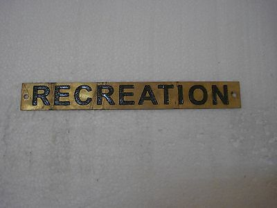 RECREATION – Marine BRASS Door Sign -  Boat/Nautical - 8 x 1 Inches (285)