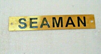 SEAMAN  – Marine BRASS Door Sign -  Boat/Nautical - 6 x 1 Inches (289)