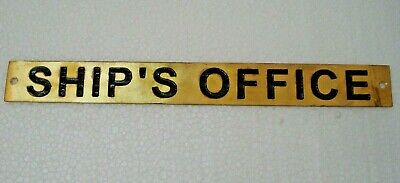 SHIP'S OFFICE  – Marine BRASS Door Sign -  Boat/Nautical - 9 x 1 Inches (294)