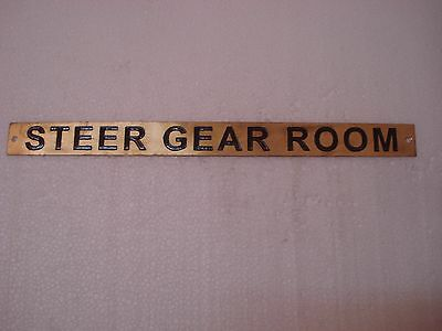 STEER GEAR ROOM  – Marine BRASS Door Sign -  Boat/Nautical - 12 x 1 Inches (302)