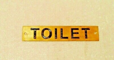 TOILET  – Marine BRASS Door Sign -  Boat/Nautical - 5 x 1 Inches (309)
