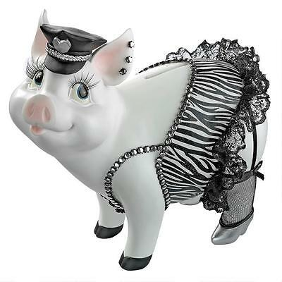 Porker On Patrol Pig Statue Resin Multi Color Hand Painted Decor Collectible