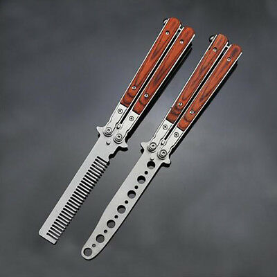 Retro Wood Handle Trainer Butterfly Cutter Balisong Practice Blunt Blades Comb