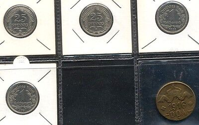 Germany, 25 Pfennig 1909G, 1912A, 1 Reichsmark 1933A, 1937 A Plus