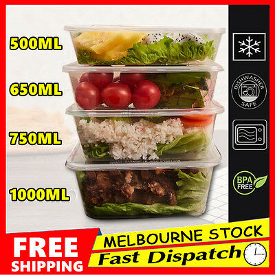 100-600 DISPOSABLE Food Container Plastic Takeaway Take Away Microwave Box Lids