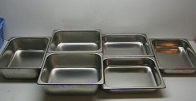 "6 Vollrath Steam Table Pans 10 1/2"" x 12 1/2"" Stainless Steel NSF USED"