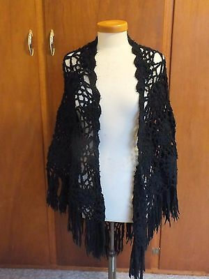 * Vintage Ladies Black Crochet Shawl