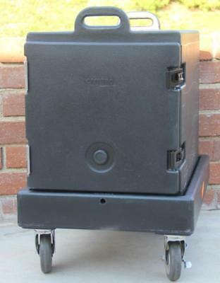 Cambro 300MPC Black Insulated Food Pan Camcarrier w/ CD300 Black Camdolly Dolly