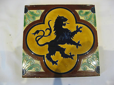Carrelage Carreau Faience Ceramique Lion Bleu Boch Fres