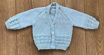 New Hand Knitted Baby Boy Cardigan In Blue Yarn 0-3 Months
