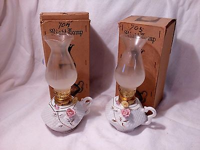 2 Vintage Relco Creations Ceramic Oil Hurricane The Night Lamp Both In Box NOS!