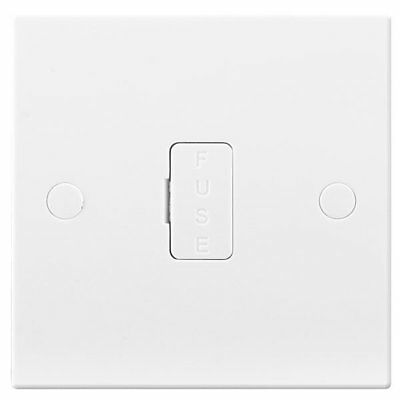 Moulded White 13A Fused Connection Unit 1 gang Unswitched - BG Electrical