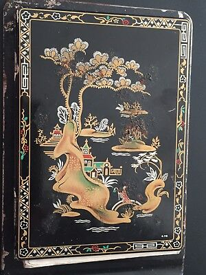 Old Toleware Chinese Painting On Front Notepad