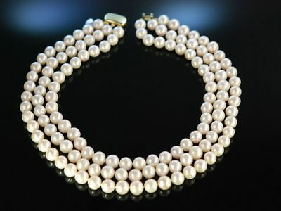 Kennedy Style Weisses Zucht Perlen Collier 3Reihig Gold 585 Pearl Necklace