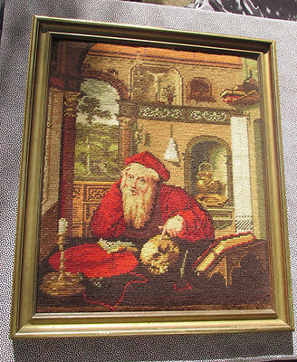 Vintage Completed Cross Stitch St Jerome in His Study Framed Wall Hanging 52CmT