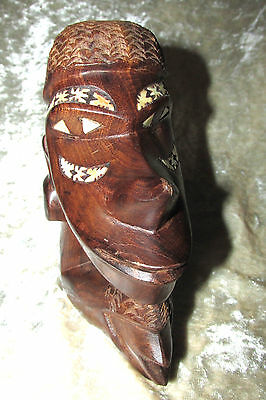 Nguzunguzu Solomon Islands Pacific Oceania Wood Statue Figurine Shell Inlay15CmT