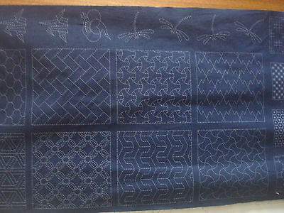 """ SASHIKO "" #2 FABRIC PANEL  "" Blue """