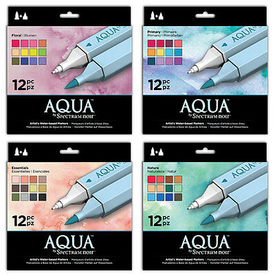 Spectrum Noir AQUA - Artist WATERCOLOUR MARKER 12 PEN SETS - All Sets Available