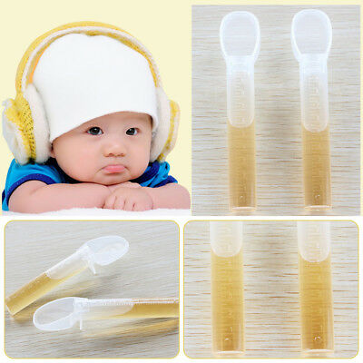 Transparent Baby Feeding Spoons Silicone Tip Toddler Medchine Training Tableware