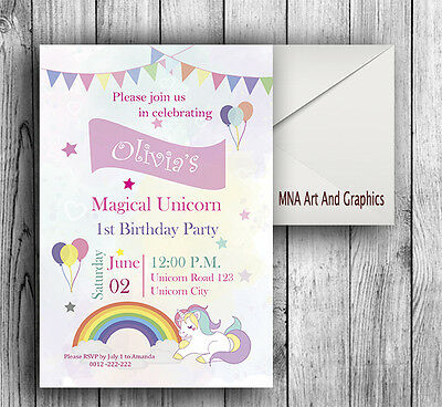 Unicorn birthday party invitations personalized invitation rainbow unicorn birthday party invitations personalized invitation rainbow unicorn filmwisefo